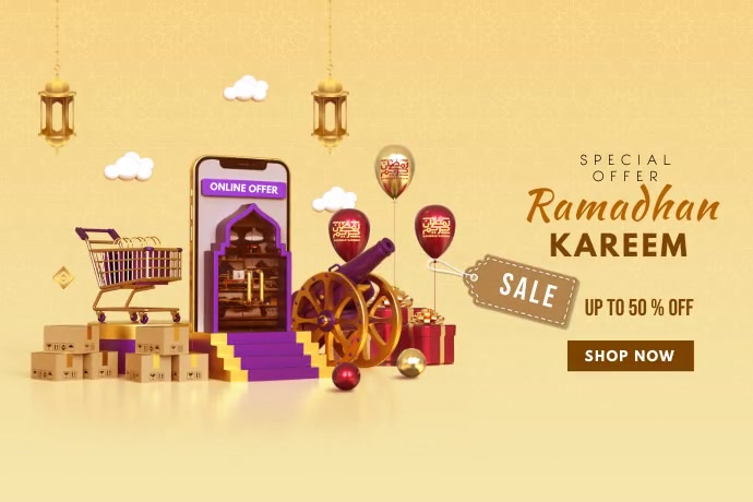 Ramadhan Kareem sale offer Banner 4' × 6' template