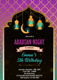 Ramanda lantern party invitation A6 template