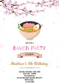 Ramen Japanese birthday invitation A6 template