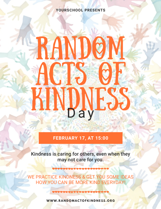 Random Acts of Kindness Day Flyer template Pamflet (Letter AS)
