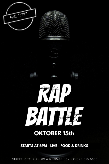 rap battle flyer template postermywall