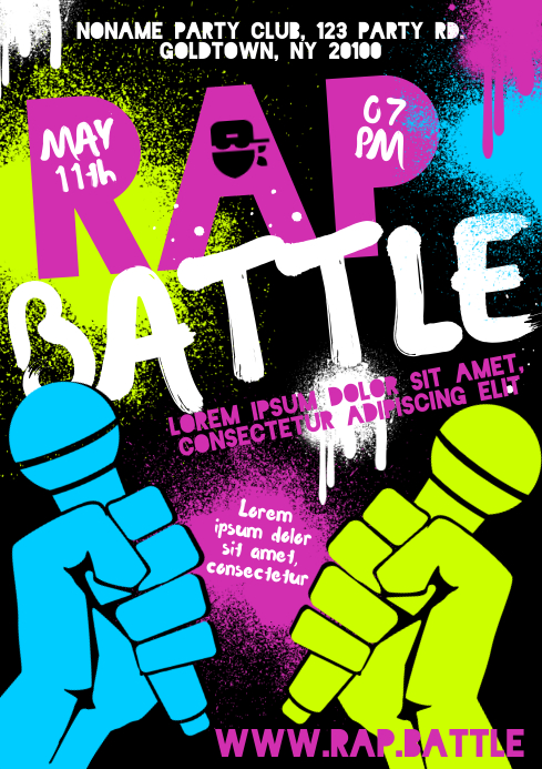 RAP BATTLE POSTER A4 template