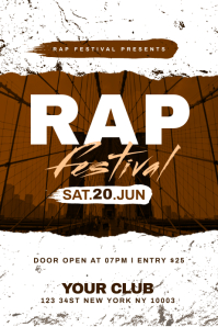 Rap Festival Flyer Template แบนเนอร์ 4' × 6'