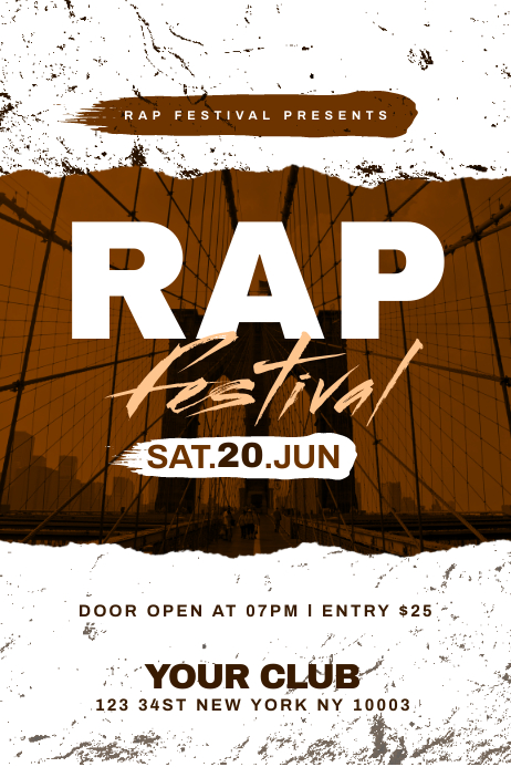 Rap Festival Flyer Template 横幅 4' × 6'