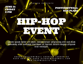 Rap Hip-Hop Event Landscape Flyer Template