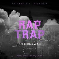 Rap Trap Black Smoke Video Mixtape Cover 方形(1:1) template