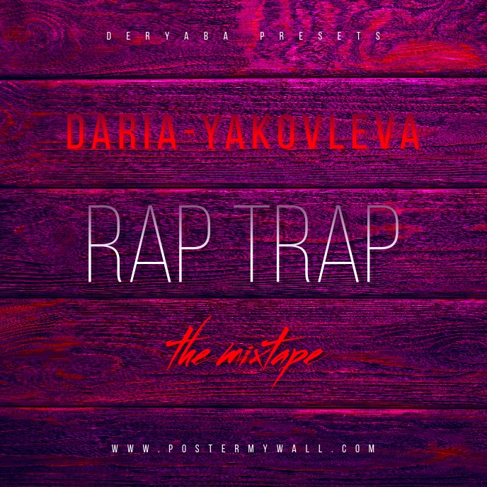 Rap Trap Red Purple Wood The Mixtape CD Cover