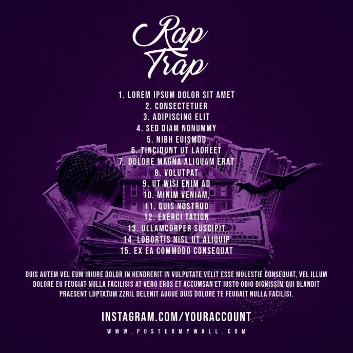 Rap Trap Tracklist Mixtape Cover Art Template