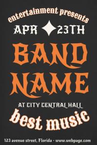 Rck Heavy Metal Dark Black Concert Band Flyer Template
