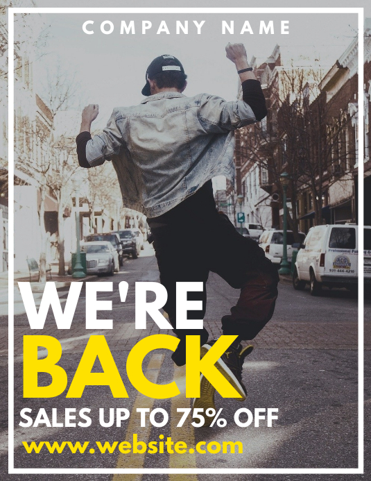 re opening sales up to 75 % off Flyer (US Letter) template