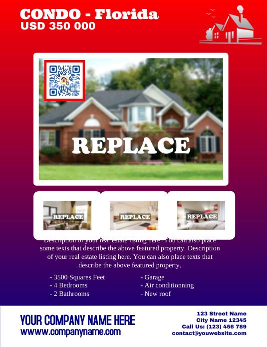 Real estate flyer template - Letter size version