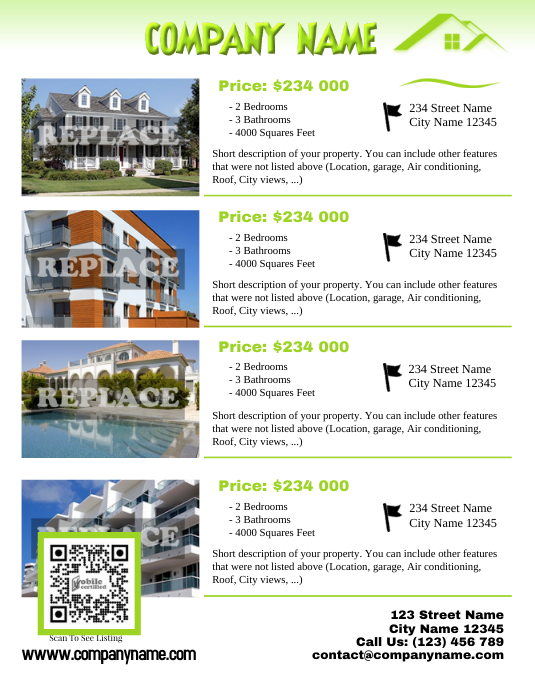 Real estate flyer template - Letter size version