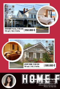 Pre made real estate ad - Hpme for sale poster with big photos