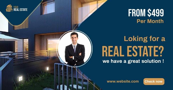 Real Estate Agency Ads Рекламное объявление Facebook template