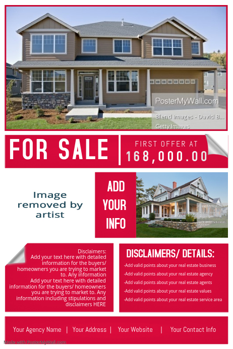 Real Estate Agency House Sale Retail Ad Marketing Auction Template - Sell your house flyer template