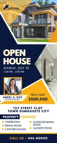 Real Estate Agency Open House Roll up Banner Cartel enrollable de 2 × 5 pulg. template