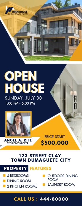 Real Estate Agency Open House Roll up Banner Rolbanner 2' × 5' template