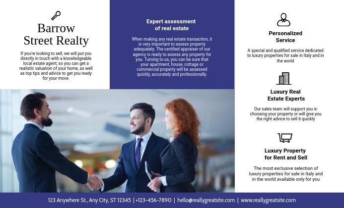 Real Estate Agency Tri Fold Brochure Design US na Legal template
