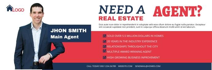 Real Estate Agent Twitter header template