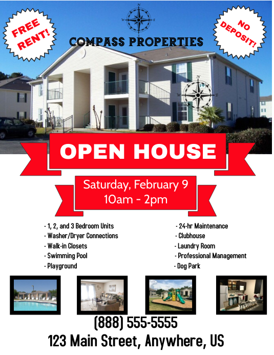 Real Estate Apartment Open House Open Home Flyer