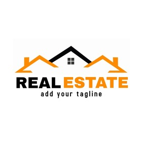 Real estate black and gold logo template