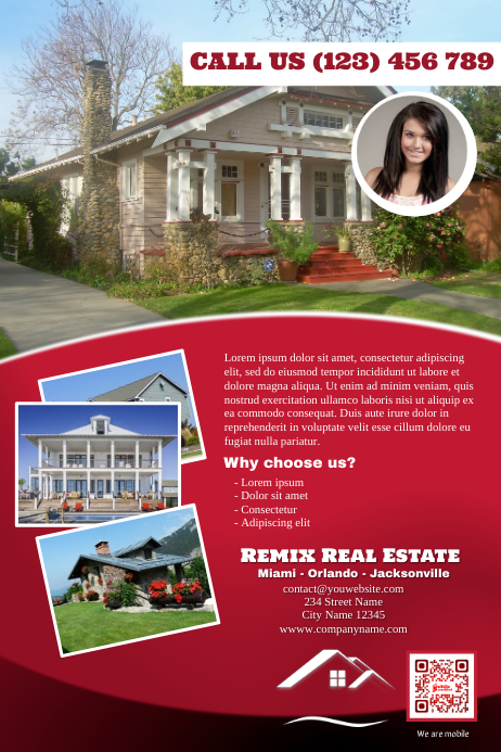 Real estate brochure (Red version) 海报 template