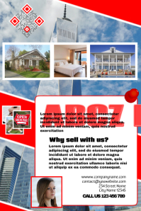 Modern real estate brochure with image background (red and white) Poster template