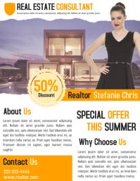 Real estate business flyer template for realtor agent ใบปลิว (US Letter)
