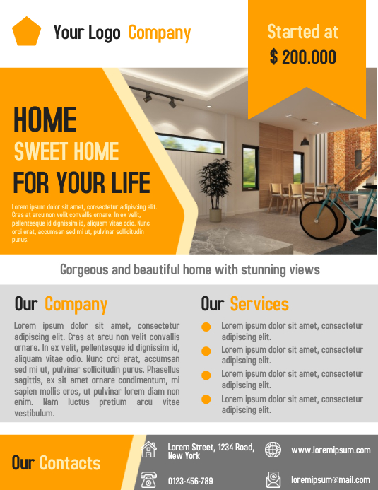 Real Estate Business Promotion Flyer and Poster Template Pamflet (Letter AS)