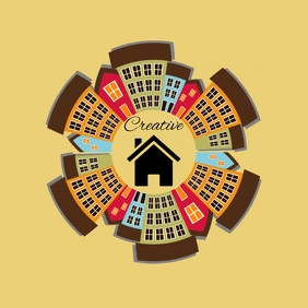 real estate city house apartment logo