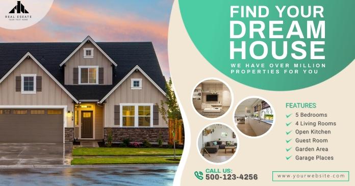 Real Estate Facebook Shared Post Template delt Facebook-billede