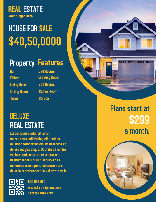Real Estate Flyer ใบปลิว (US Letter) template
