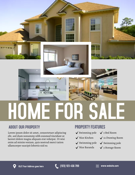 Real Estate Flyer Løbeseddel (US Letter) template