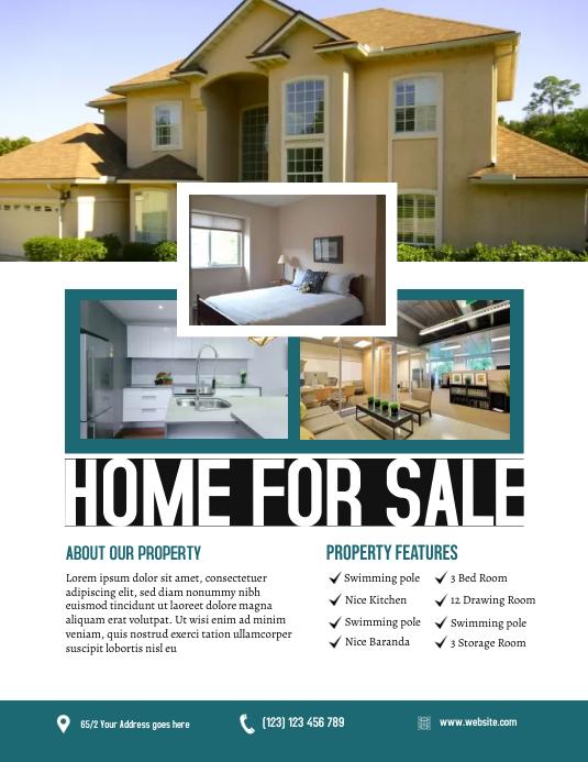 Real Estate Flyer Løbeseddel (US Letter) template