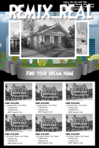 Black and white real estate flyers
