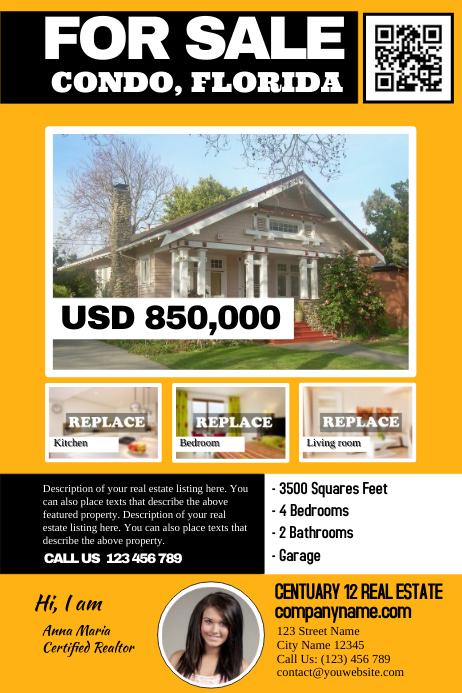 Franchise real estate flyers - Vivid orange Poster template