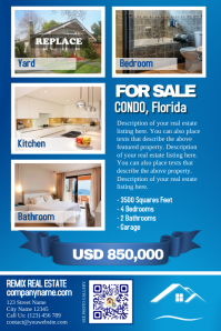 Blue real estate flyer template - For single property