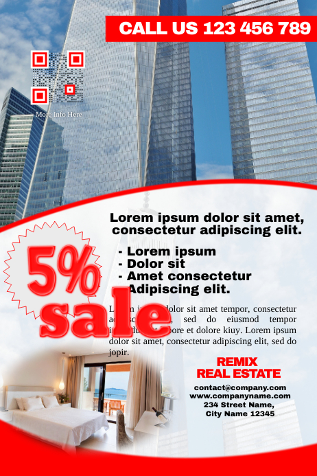 Modern real estate flyer with image background (Red version)