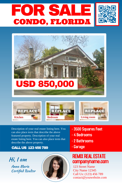 Franchise real estate flyers Blue/Red