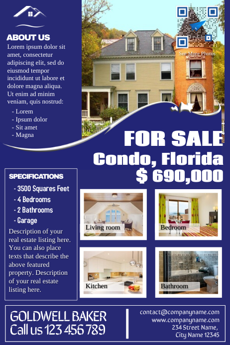 Franchise real estate flyers - Blue - V2 Poster template