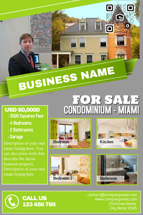 Green - grey real estate flyer template