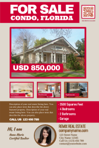 Light colored real estate flyer with photos and specification fields