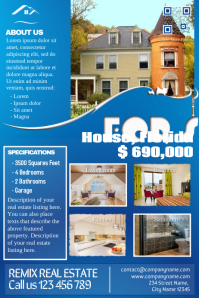 Stylish real estate flyer - Blue