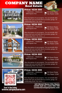Real Estate Flyer with custom design QR code (Red glossy)