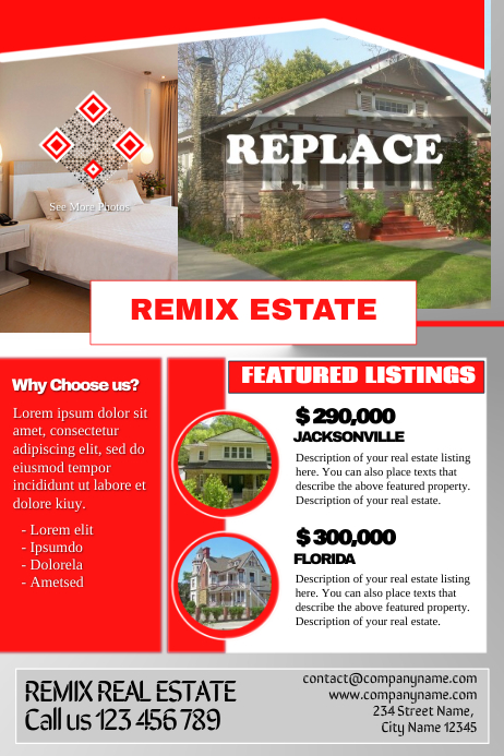Real estate flyers 海报 template
