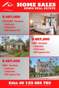 Reddish real estate flyer with 3 big photos