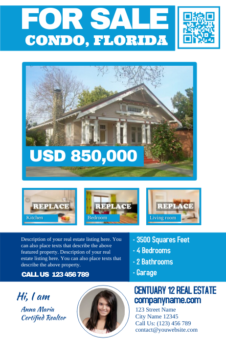 White real estate flyer template