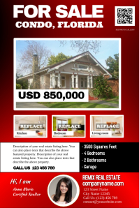 Real estate flyer for a single featured property (Red-black)