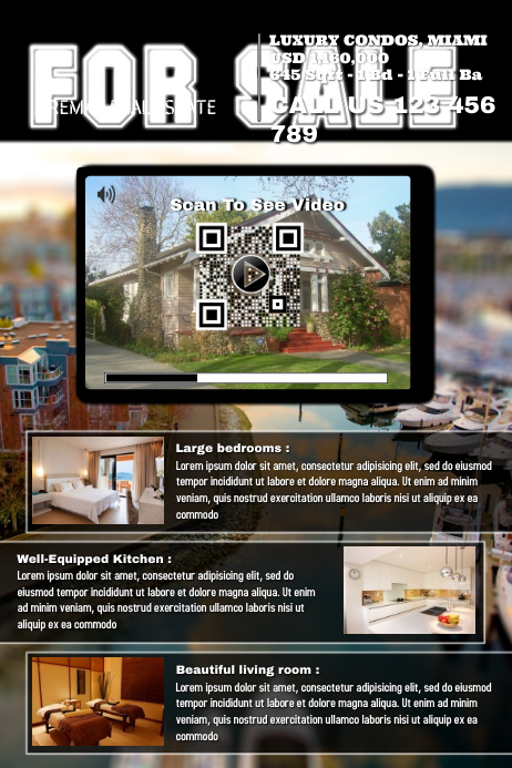 Real estate flyer activated with a video QR code