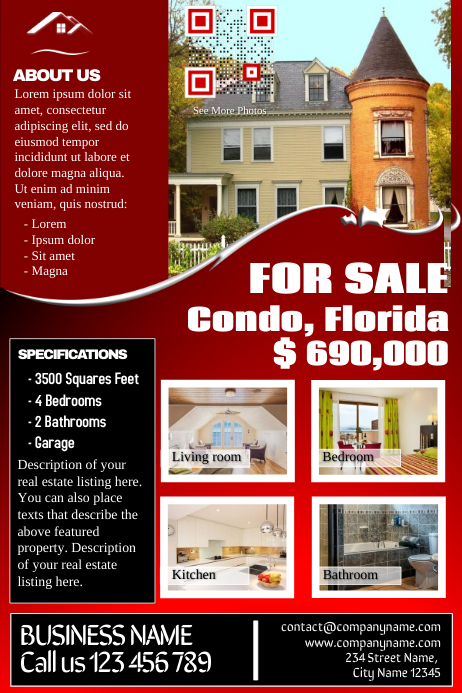 Real Estate Flyer Template Contains Both Listing And Business